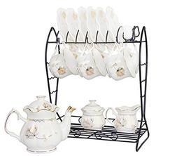 21-Piece Porcelain Ceramic Tea Gift Set with Metal Holder, C