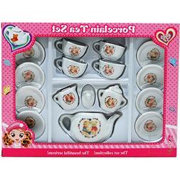 16 Piece Girls Porcelain Ceramic Tea Set Collection