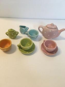 Lollipop Porcelain Child Play Tea Set Pastel Colors Polka Do