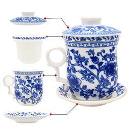 Tea Talent Porcelain Tea Cup with Infuser Lid and Saucer Set
