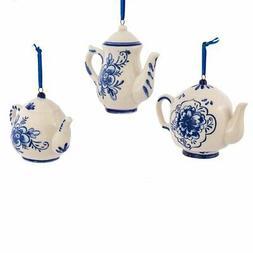 "Kurt Adler 2-3"" Porcelain Delft Blue Teapot Ornament Set of"
