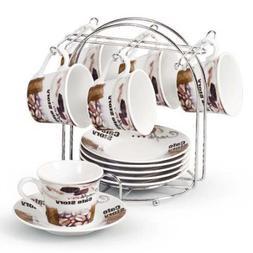 Lorren Home Trends Porcelain Espresso Coffee Cups, Brown Cof
