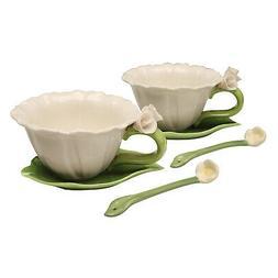 Porcelain Floral Tea Set for 2 - Flower Shaped 6-Pc Set