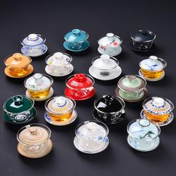 porcelain gaiwan glass tea bowl covered Chinese ceramic ture