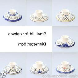Porcelain lid for gaiwan cellular design handpainted single