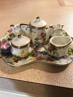 Porcelain Mini Tea Set With Tray Floral Decorative Only