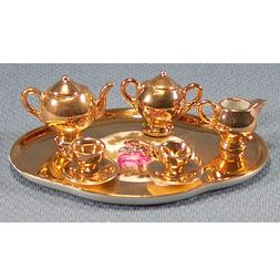 Limoges Porcelain Miniature Tea Set, Gold - 4.5 Inch