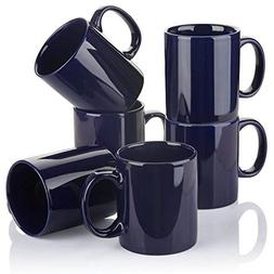 YHY 12 oz Porcelain Mugs for Tea and Coffee, Set of 6, Navy