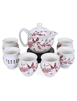 Dahlia Porcelain Peach Blossom Tea Set  in Gift Box