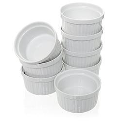 Porcelain White Ramekins Set, Souffle & Creme Brulee 4 oz