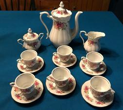 Porcelain rose demi tea set, teapot creamer sugar bowl 6 cup