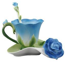 Beddinginn Porcelain Rose Shape Coffee Tea 3-piece Cup Sets