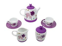Premium 7 Piece Porcelain Kid's Tea Set - Enjoy hours of p