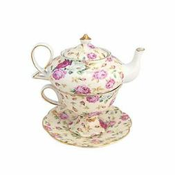 Porcelain Tea for 1 Gracie China Set of  4 Pc Stacked Teapot