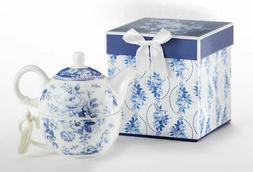 Delton Product Porcelain Tea for One in Gift Box English Blu