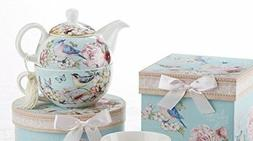 Delton Blue Bird Porcelain Tea for One with Keepsake Box