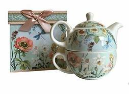 "Delton Products 5.8"" Porcelain Tea for One in Gift Box, Drag"