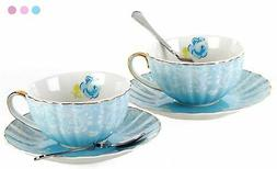 Jusalpha Porcelain Tea Cup and Saucer Coffee Cup Set with Sa
