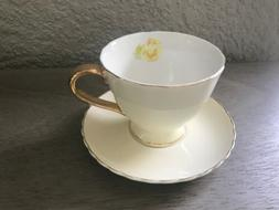 Jusalpha Porcelain Tea Cup - Coffee Cup Set with Saucer Yell