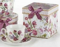 Delton Porcelain Tea Cup & Saucer Gift Set BLUE CAMELLIA