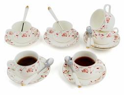 Jusalpha Porcelain Tea Cup and Saucer Set-Coffee Cup Set wit
