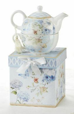 Delton Porcelain Tea for One Gift Set  Stacked Teapot & Cup