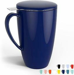 Porcelain Tea Mug with Infuser and Lid, 15 OZ, Navy - by Swe