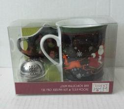 Debbie Mumm Porcelain Tea Mug with Spoon Rest And Metal Tea