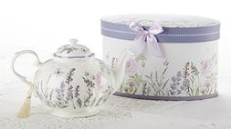 Delton Products Porcelain Tea Pot, Lavender and Rose Pattern
