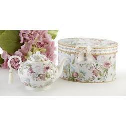 """9.5X5.6"""" Porcelain Tea Pot, Pale Rose"""
