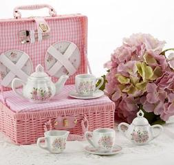 Delton Children's Porcelain Tea Set for 2 in Wicker Basket C