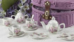 Delton Products Children's Porcelain Tea Set for Two with Ba