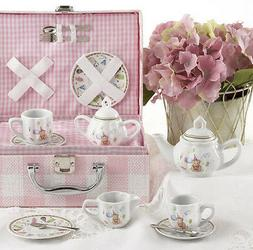 Delton Children's Porcelain Tea Set for 2 in Wicker Basket P