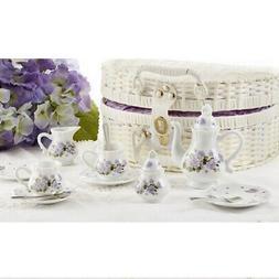 Delton Children's Porcelain Tea Set for 2 in Wicker Basket P
