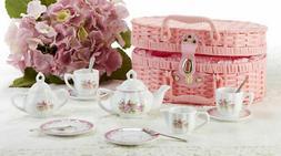 Delton Product Porcelain Tea Set in Basket Lavender and Rose
