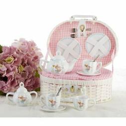 Delton Product Porcelain Tea Set in Basket Mermaid,Pink,10 x