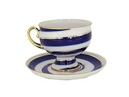 Lomonosov Porcelain Tea Set 2pc Cup and Saucer Twisted Loop