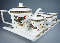 Porcelain Tea Set 8 Pieces - Large Teapot with Lid + 6 Cups