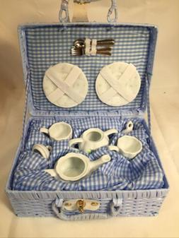Delton Children's Porcelain Tea Set for 2 in Wicker Basket H