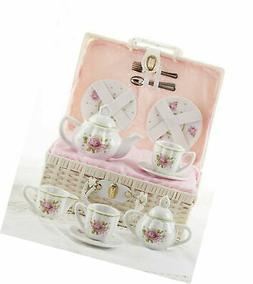 Delton Children's Porcelain Tea Set For Two Pink Rose Signat