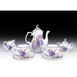 Miniature Children's Tea Set with Purple Rose Pattern New 9