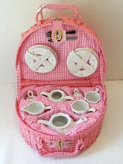 Delton Children's Porcelain Tea Set for 2 in Wicker Basket S