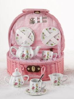 Delton Children's Porcelain Tea Set for 2 in Wicker Basket B