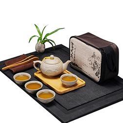 Portable Chinese Kungfu Tea Set with a Travel Bag Dragon Pat