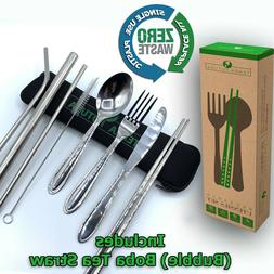 Portable Utensils Set W/Boba tea Straw. Replace All Single-u