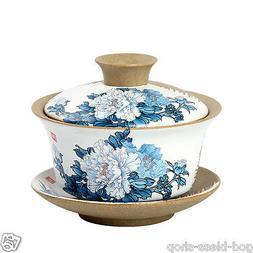 pottery teaware chinese gaiwan porcelain handpainted flower
