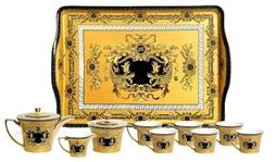 Euro Porcelain Premium 10-pc Yellow Dining Tea Set w/ tray 2