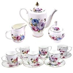 Premium 17 Piece Porcelain Tea Set - Covered Pitcher, Six Cu