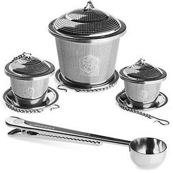 Kessaku Premium Stainless Steel 3 Size Tea Infuser Set Plus
