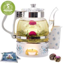 Teabloom Princess of Monaco Teapot  Blooming Tea Gift Set  -